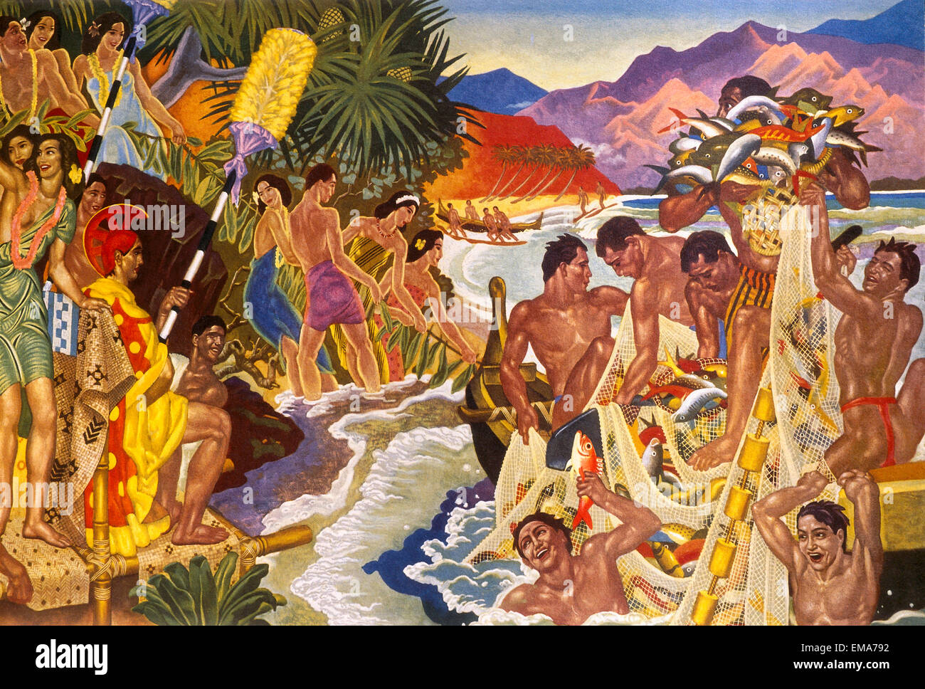 Artwork depicting primitive pacific islanders fishing on the coast Stock Photo