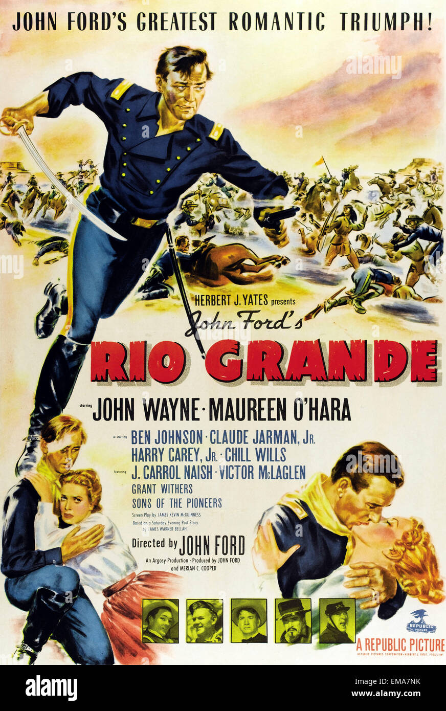 Old movie poster 'Rio Grande' a 1950 Western film directed by John Ford and starring John Wayne and Maureen - Stock Image