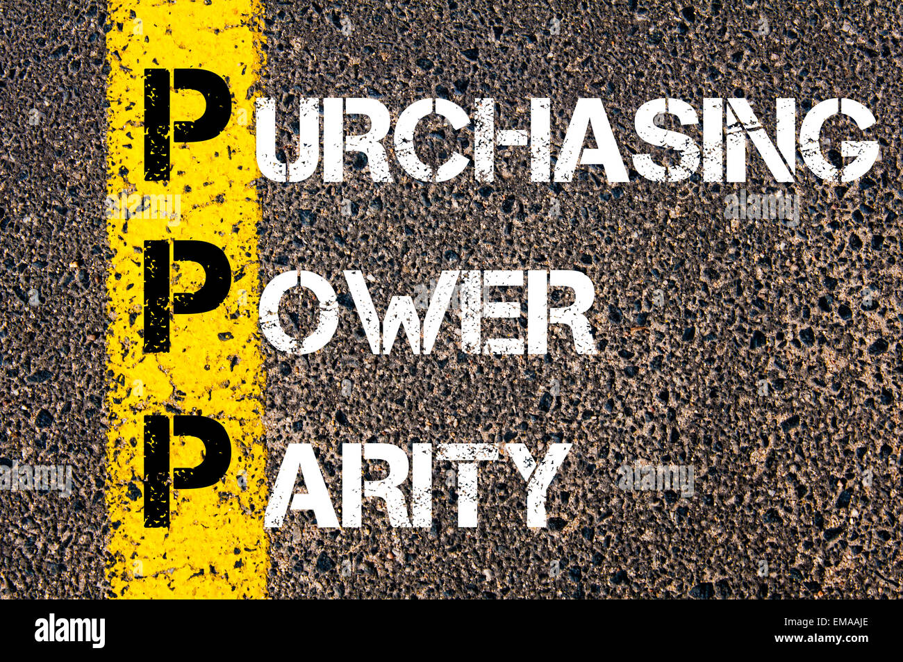 Business Acronym PPP - Purchasing power parity. Yellow paint line on the road against asphalt background. Conceptual - Stock Image