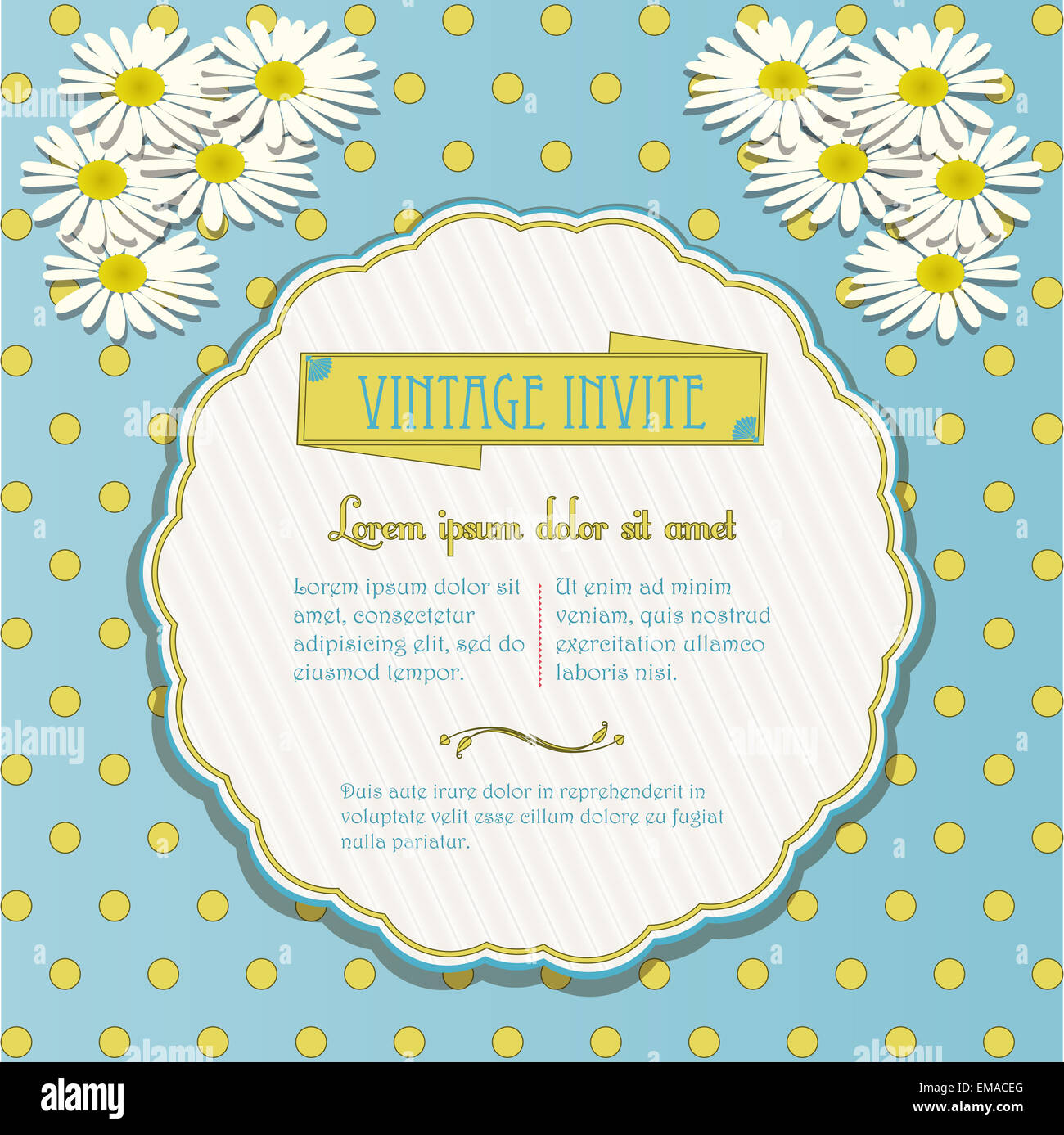 Vintage Invite with Chamomile Flowers on Polka Dot Background - Stock Image