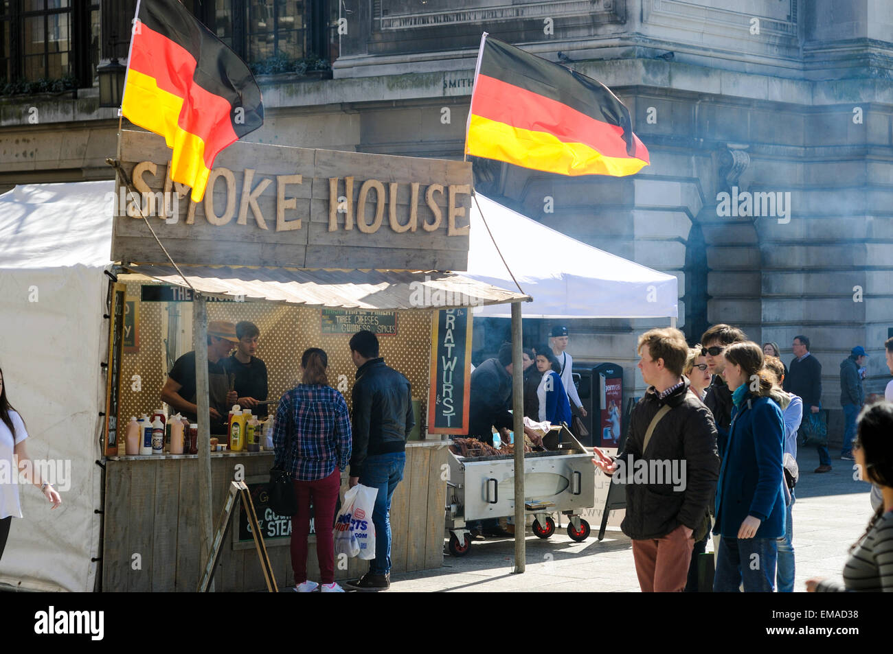 UK Weather Bright Sunny Day Brings Out The Crowds In Center Of NottinghamGerman Food Market Fills Square With Smoke From Burgers Credit