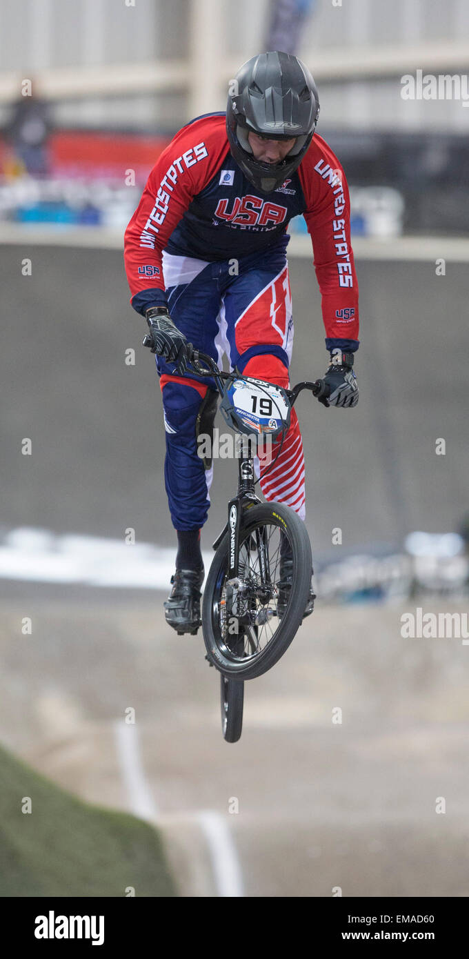 Manchester, UK. 18th April, 2015. UCI BMX Supercross World Cup. Day One. Justin Posey (USA) during the Elite MEN - Stock Image