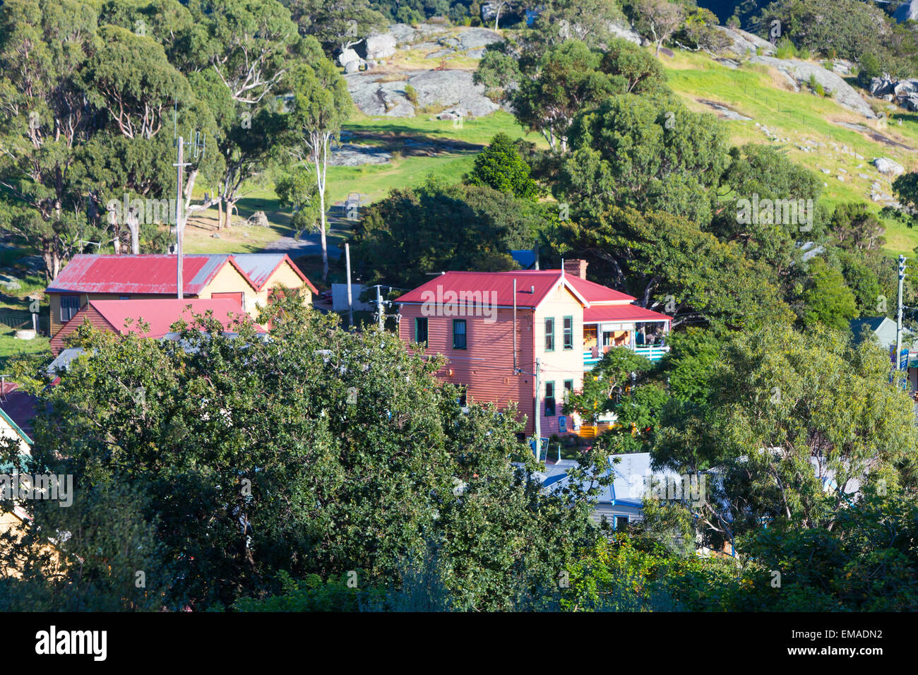 Central Tilba in its idyllic setting near Narooma in New South Wales, Australia - Stock Image