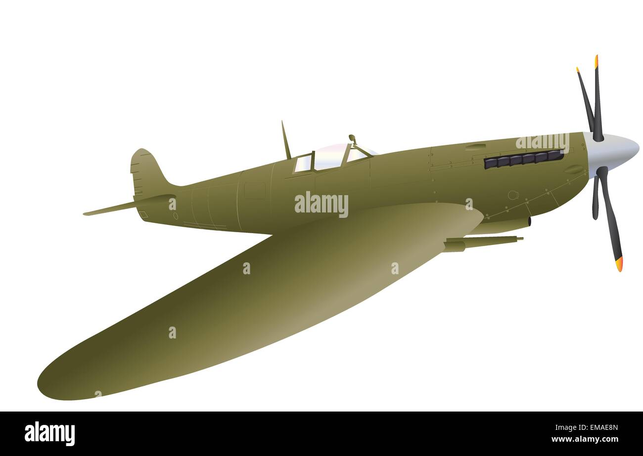 A vector illustration of a Vintage World War Two Fighter Plane isolated on white - Stock Image