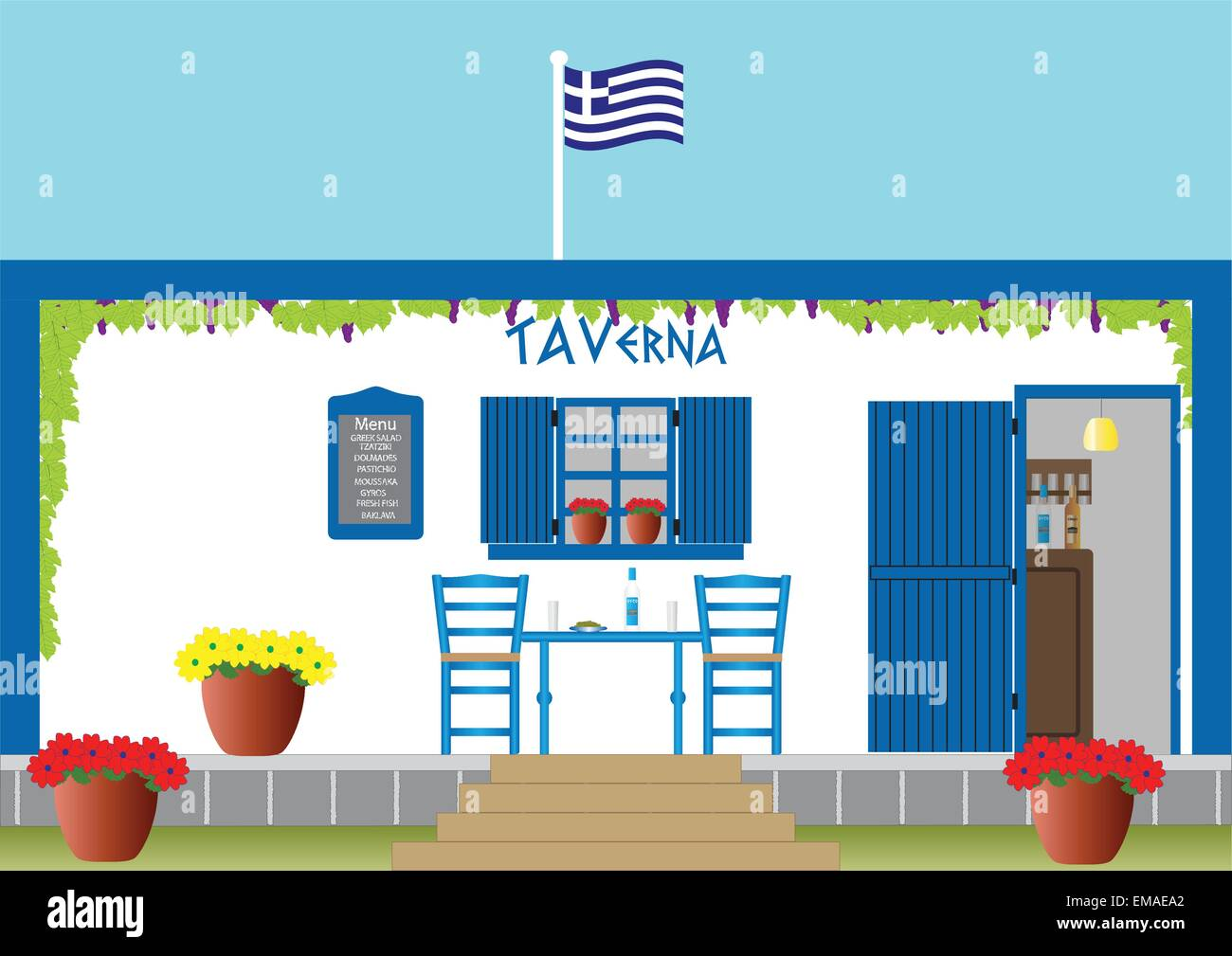 A vector illustration of a Traditional Greek Taverna with glasses of ouzo  bowl of olives on a Table and Colourful - Stock Vector