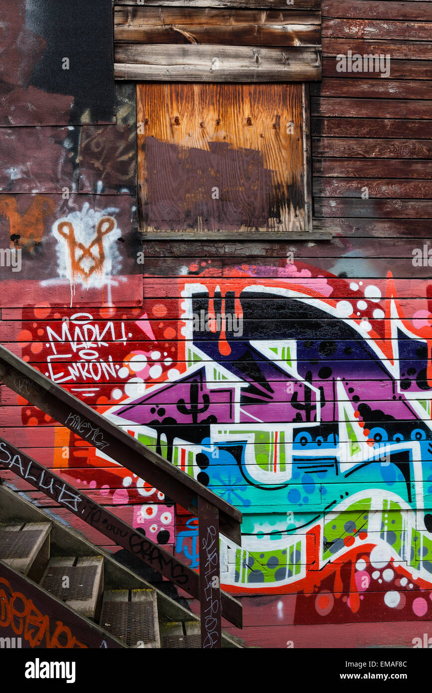 Example of street art on the walls of an old warehouse district on the east side of Vancouver, Canada Stock Photo