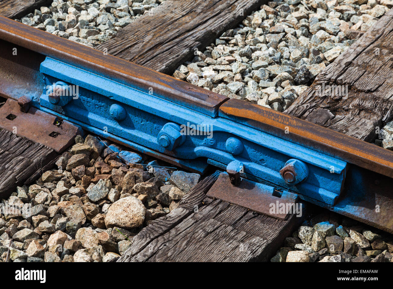 Transition joint between two sizes of railway track - Stock Image