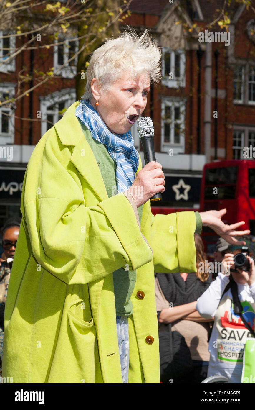 Fashion designer Dame Vivienne Westwood, addresses the Democracy vs TTIP Day of Action. Shepherds Bush Green  London - Stock Image