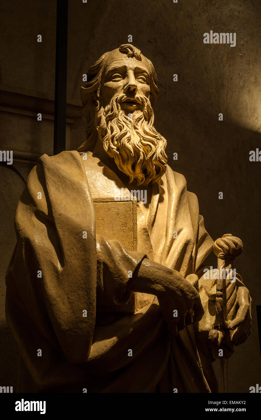Italy Piedmont Turin St John Cathedral, diocesan Museum - Statue of St Paul  - 1658-1704 - Stock Image