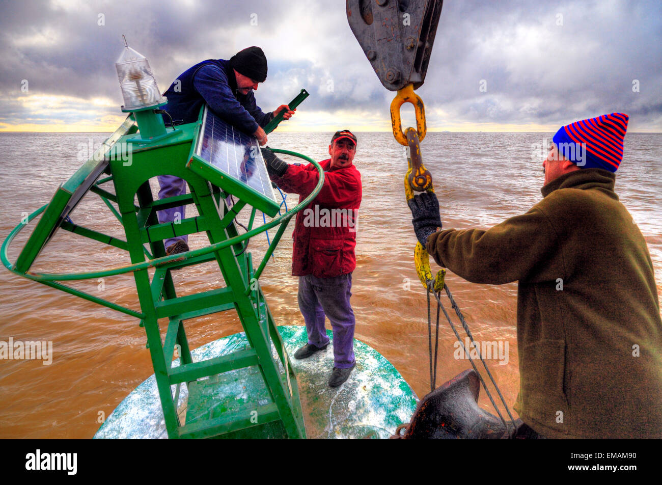 Working on board at beaconing ship at Demarchi Island Port, River Plate  Coast. Buenos Aires, Argentina Stock Photo