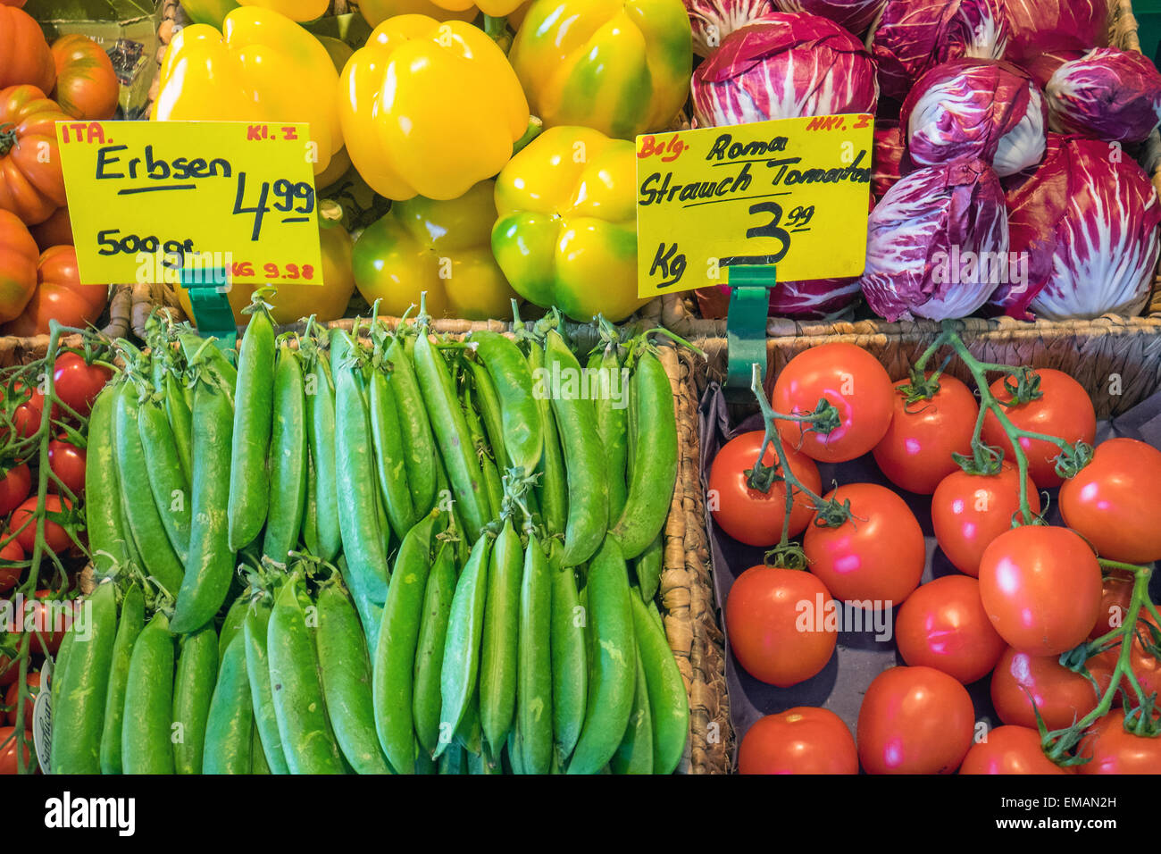 Fresh vegetables for sale at the greengrocery - Stock Image