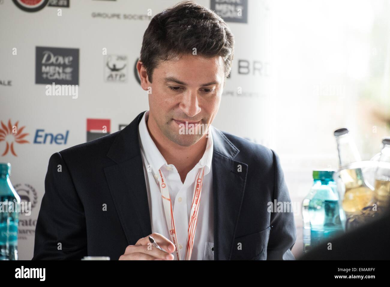 April 18, 2015: Konstantin Haerle - ATP Tour Manager at the press conference before the start of the ATP Tournament - Stock Image