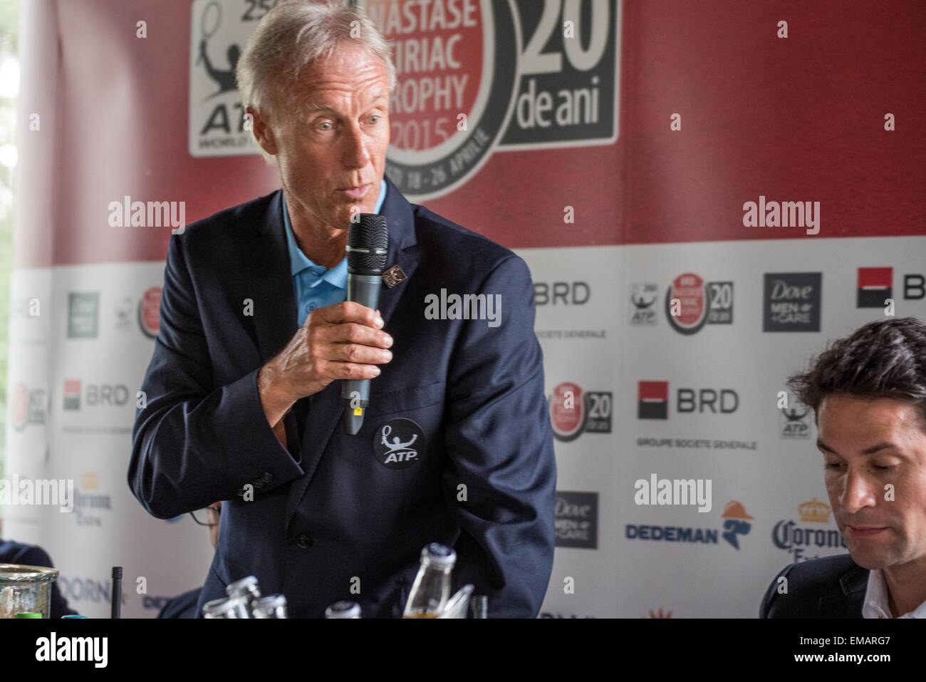 April 18, 2015: Gerald Armstrong - ATP Supervisor L and Konstantin Haerle - ATP Tour Manager at the press conference - Stock Image