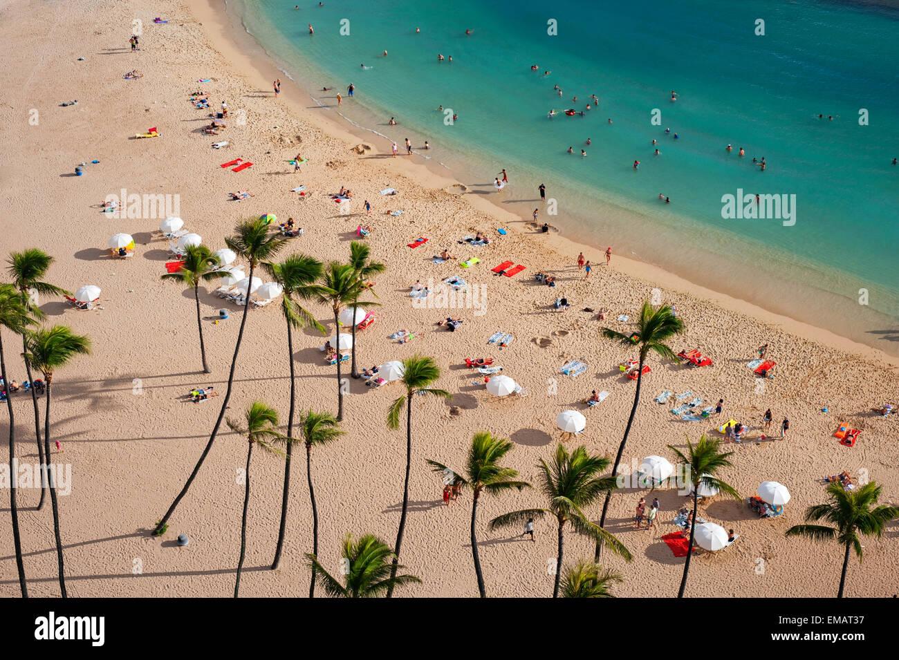 Waikiki beach; Oahu, Hawaii - Stock Image