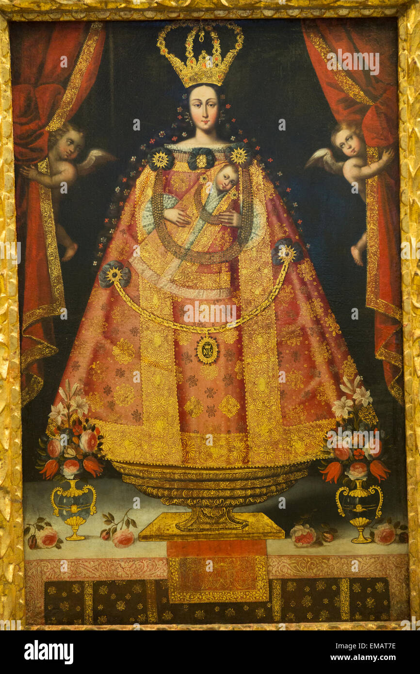 Virgin Mary Of Belen Colonial Statue Painting From Cuzco School