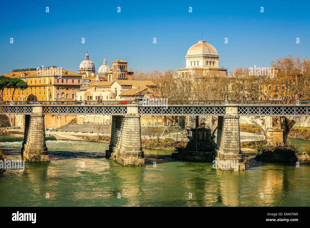 Tiber river in Rome, Italy - Stock Image