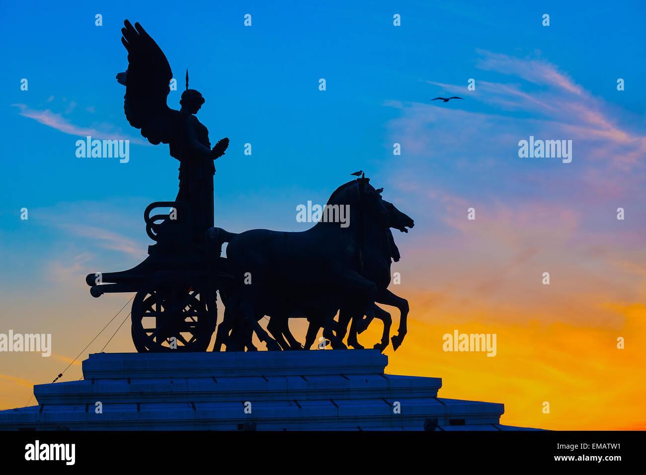 Goddess Victoria riding on quadriga, Rome - Stock Image