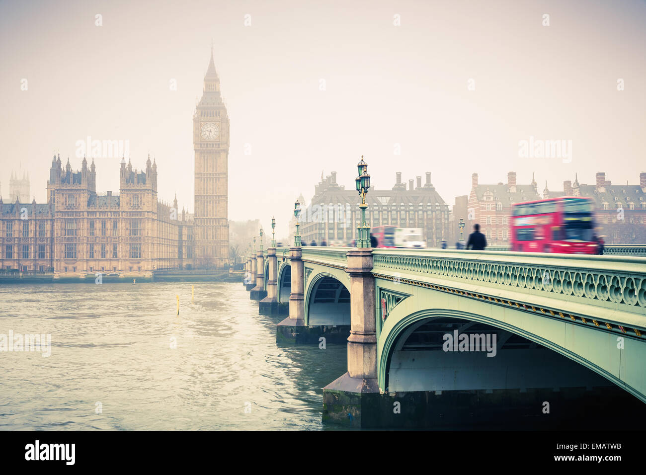Big Ben and westminster bridge - Stock Image