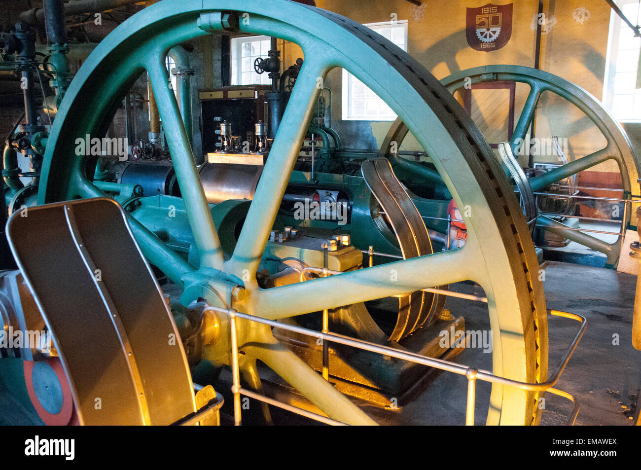Antique British refrigeration machinery preserved at The Singular Patagonia Hotel, Puerto Bories, Patagonia, Chile - Stock Image