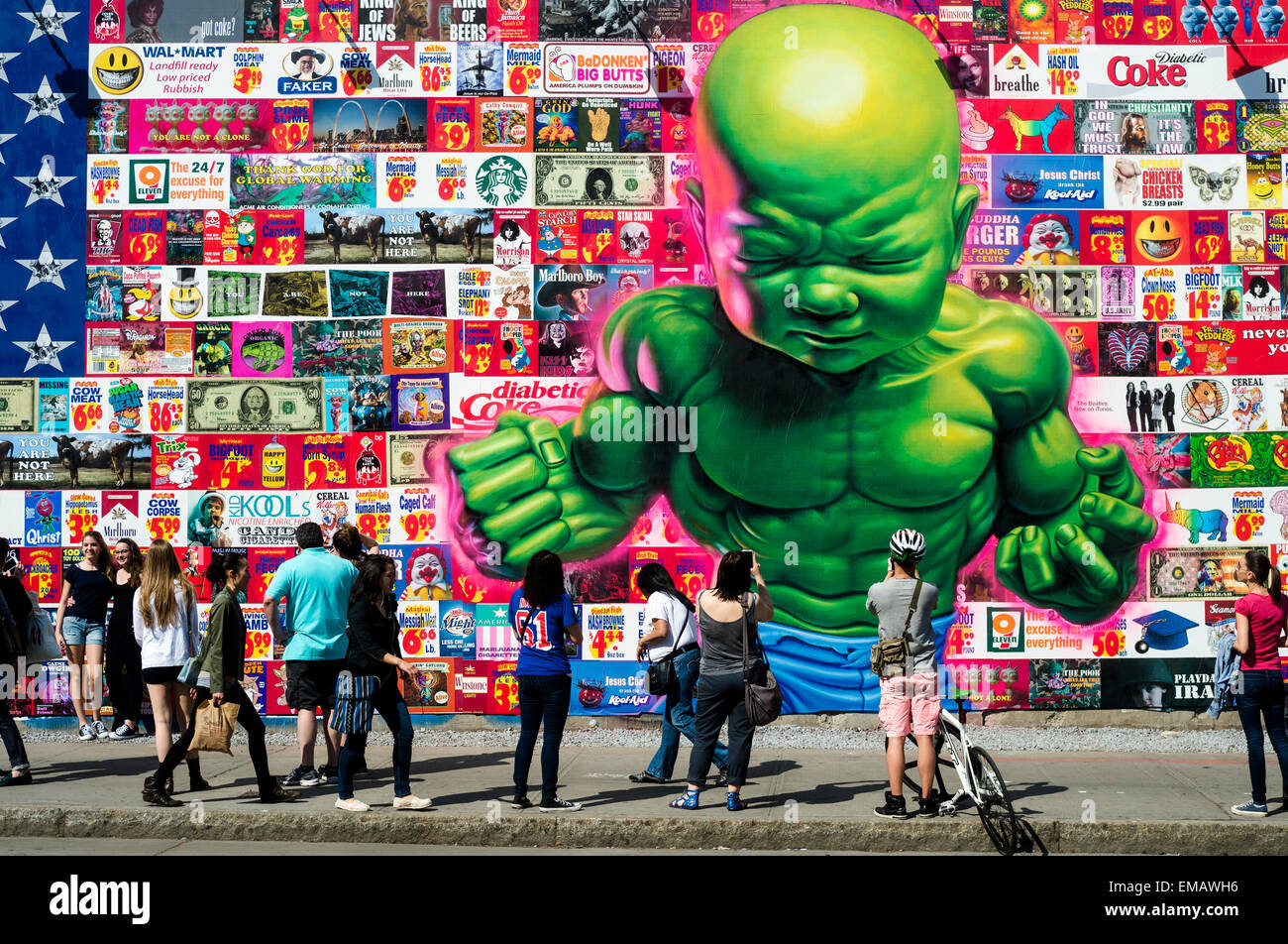 New York, USA 18 April 2016 - Bowery Mural featuring street artist Ron English with 'an American flag composed - Stock Image