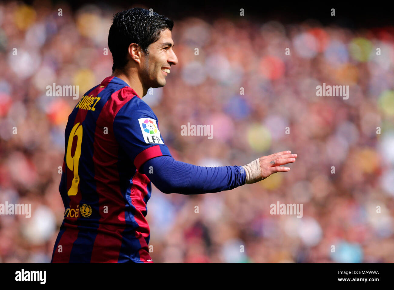 Barcelona, Spain. 18th Apr, 2015. Barcelona's Luis Suarez reacts during the Spanish first division football - Stock Image