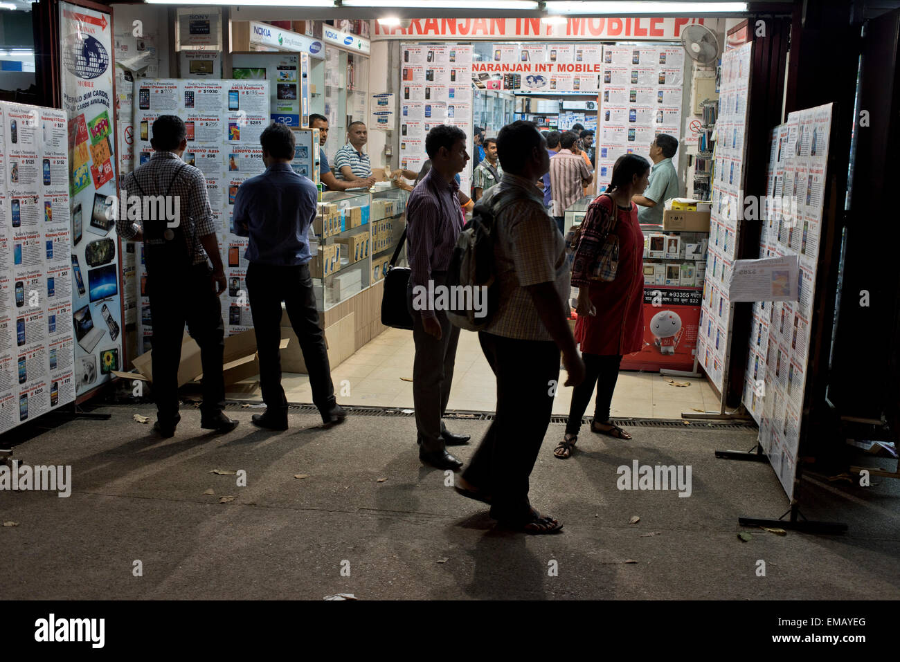 Mobile phone shop in Little India, Singapore Stock Photo