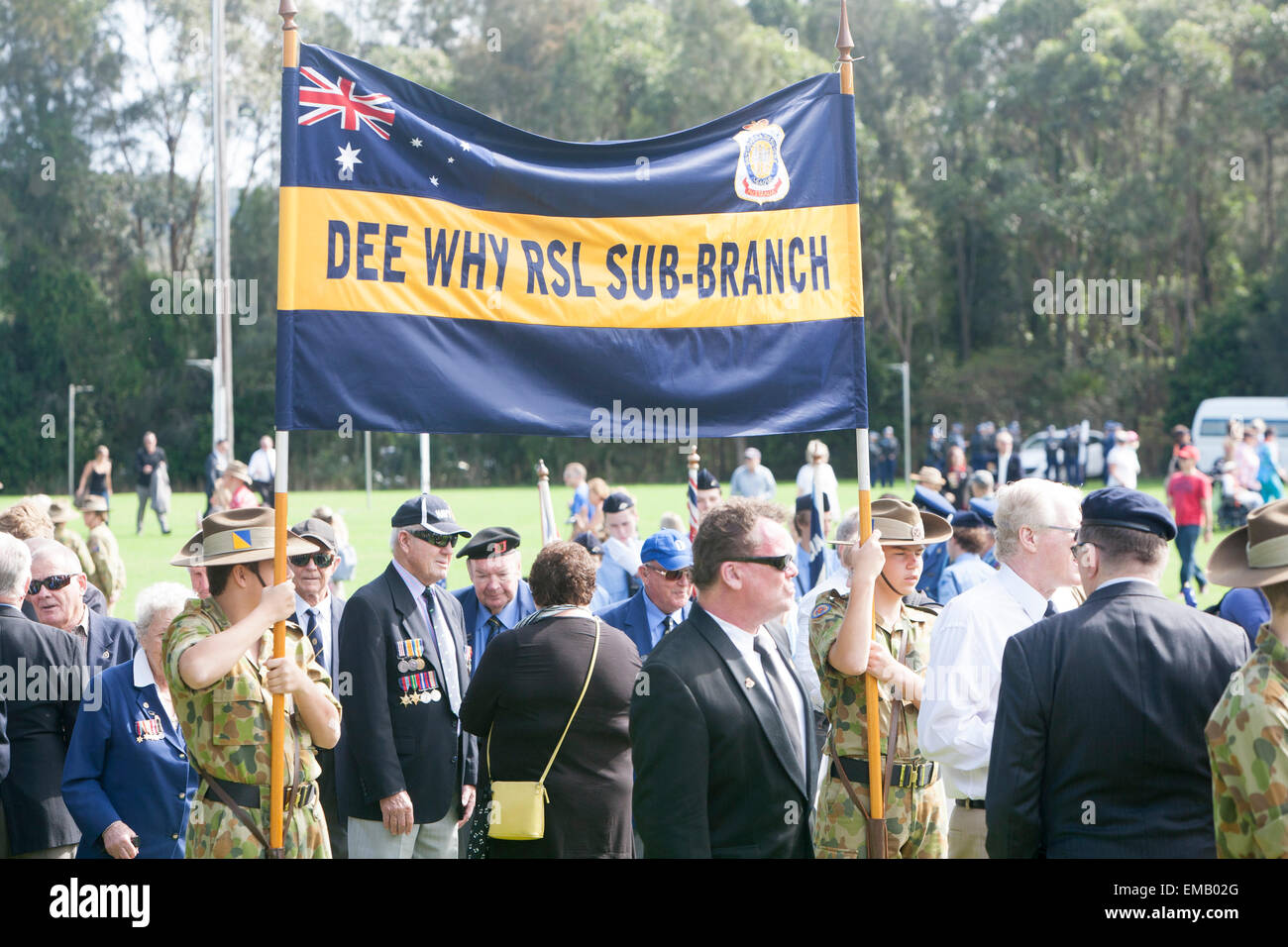 Sydney,Australia. 19th April, 2015. ANZAC commemorative and centenary march along pittwater road Warriewood to celebrate - Stock Image