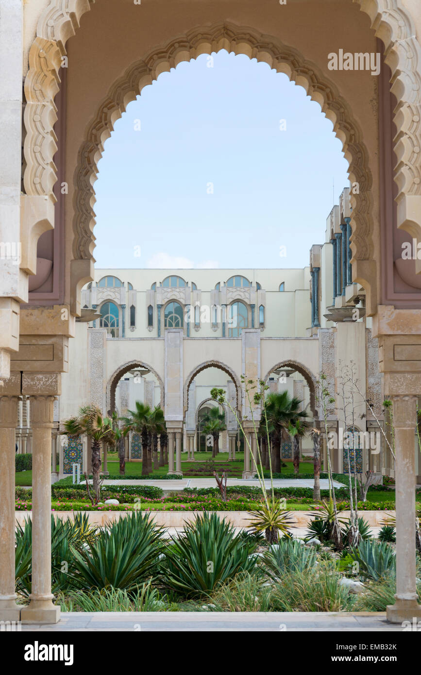 Garden at the Hassan II Mosque in Casablanca - Stock Image