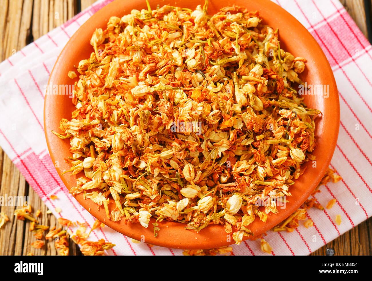 Bowl Of Dried Jasmine Flowers Stock Photo 81378560 Alamy