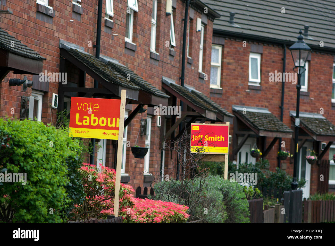 Didsbury, Manchester, UK. 19th April, 2015. General Election  Two adjoining houses in Grove Lane, Didsbury in the Stock Photo