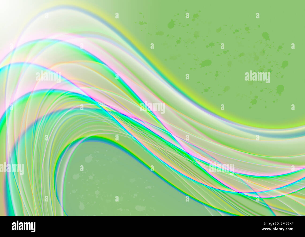Light green satin background covered bright wavy stripes - Stock Image