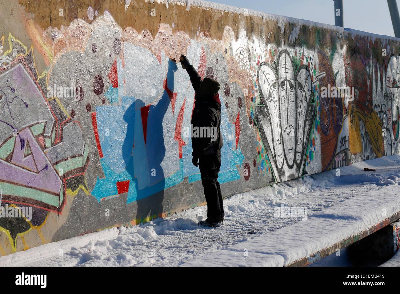 Graffity-Sprayer, Mauerpark,Berlin-Prenzlauer Berg. - Stock Image