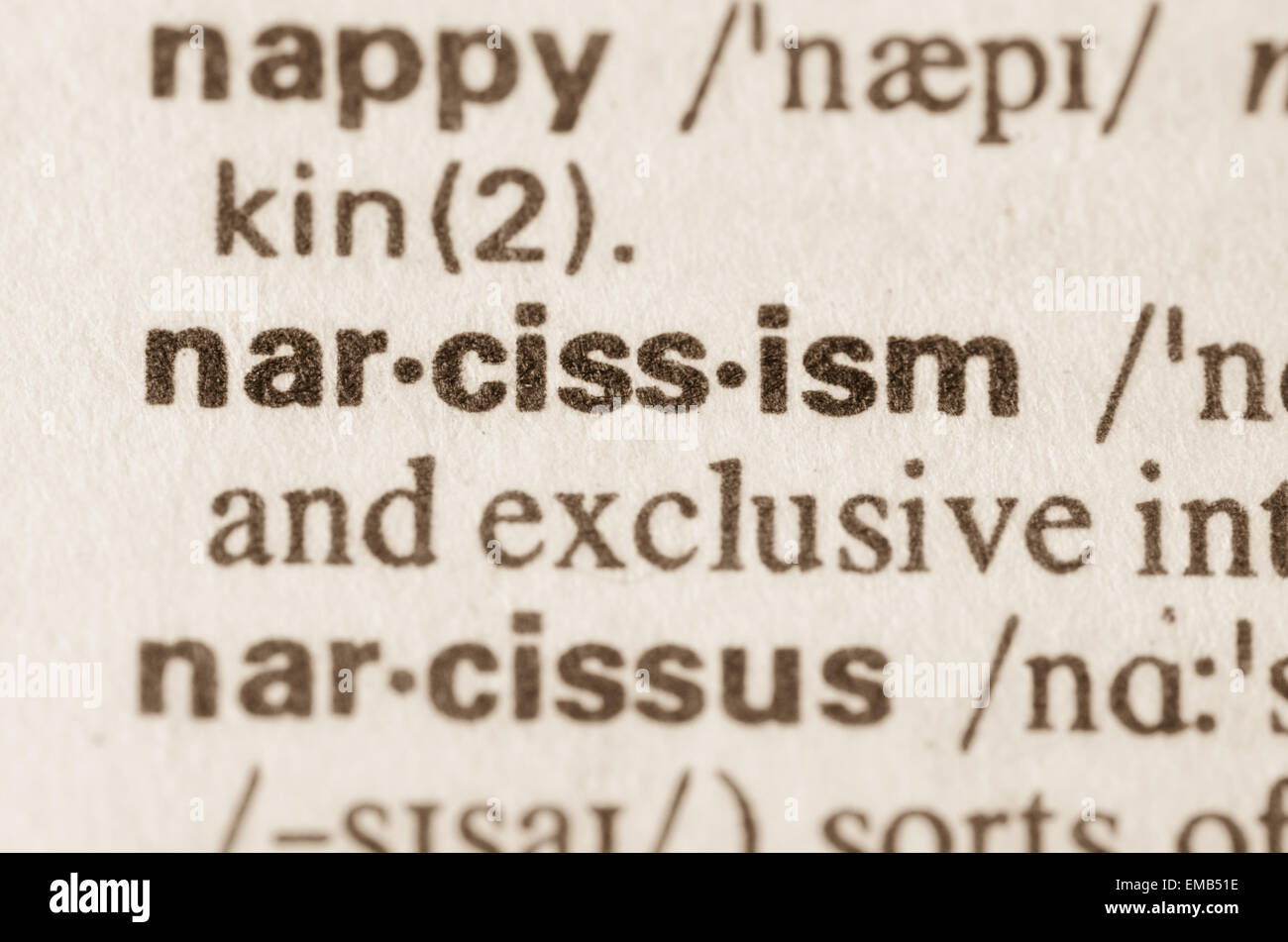 definition of word narcissism in dictionary stock photo: 81380026