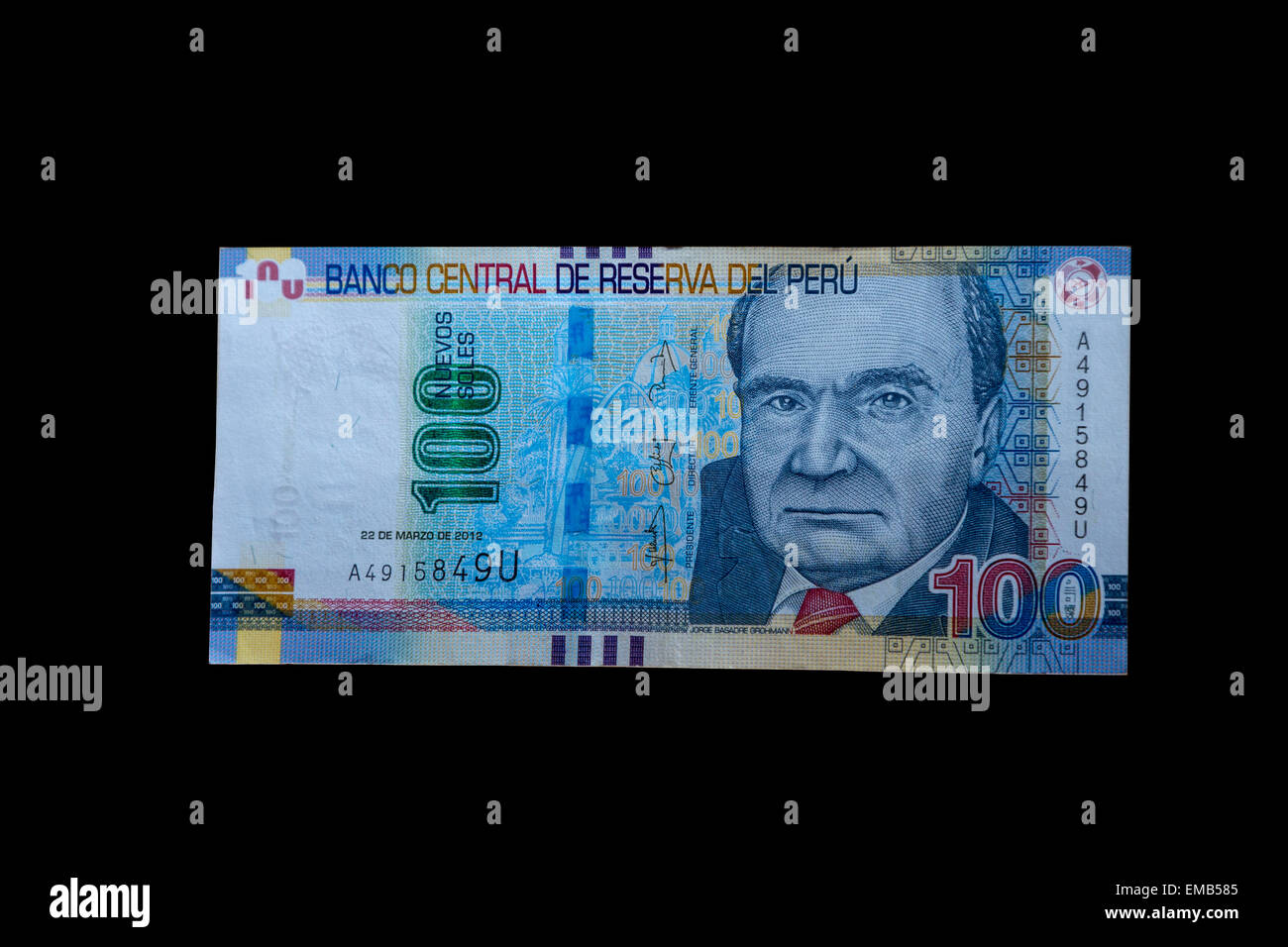 Lima, Peru.  100 Nuevo Soles Banknote Showing Historian Jorge Basadre Grohmann. - Stock Image