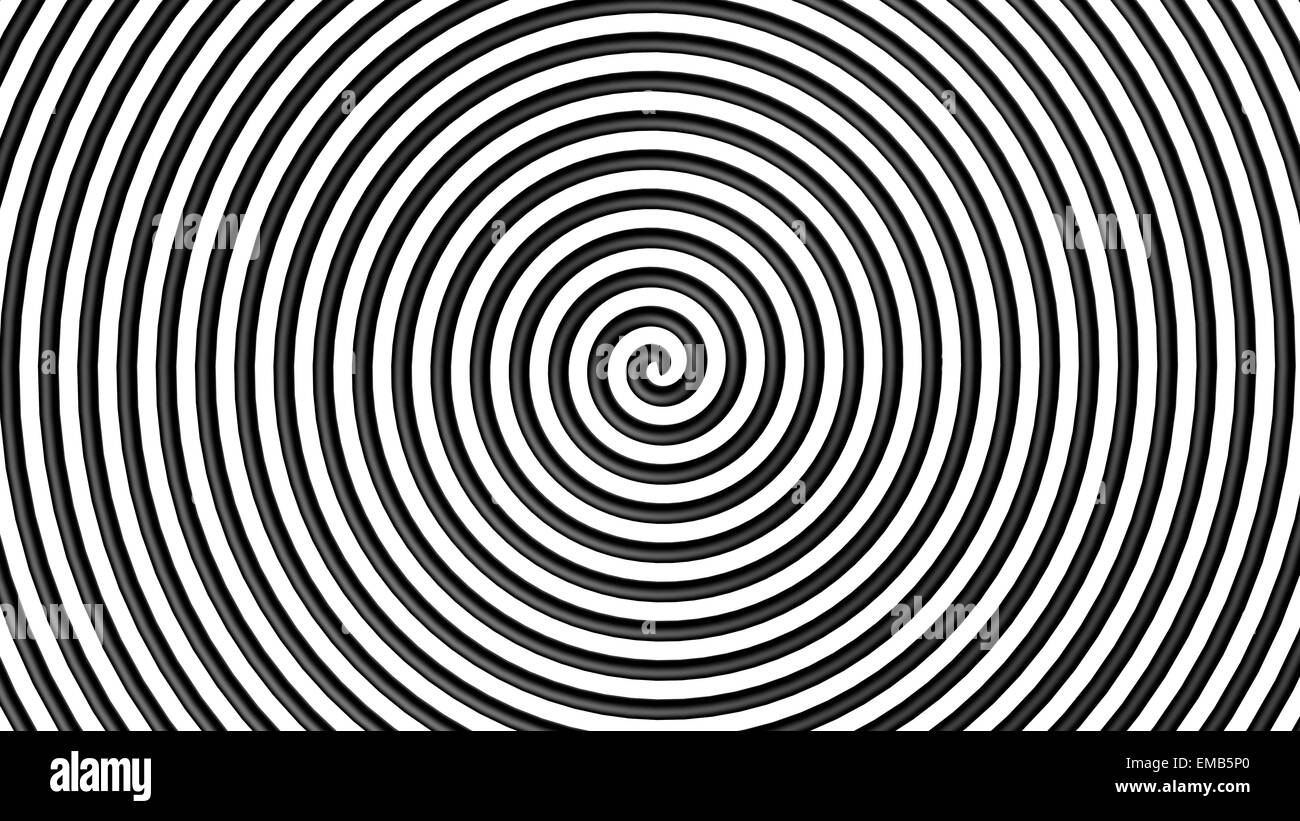 Black and white hypnotic circle with lines in 3d