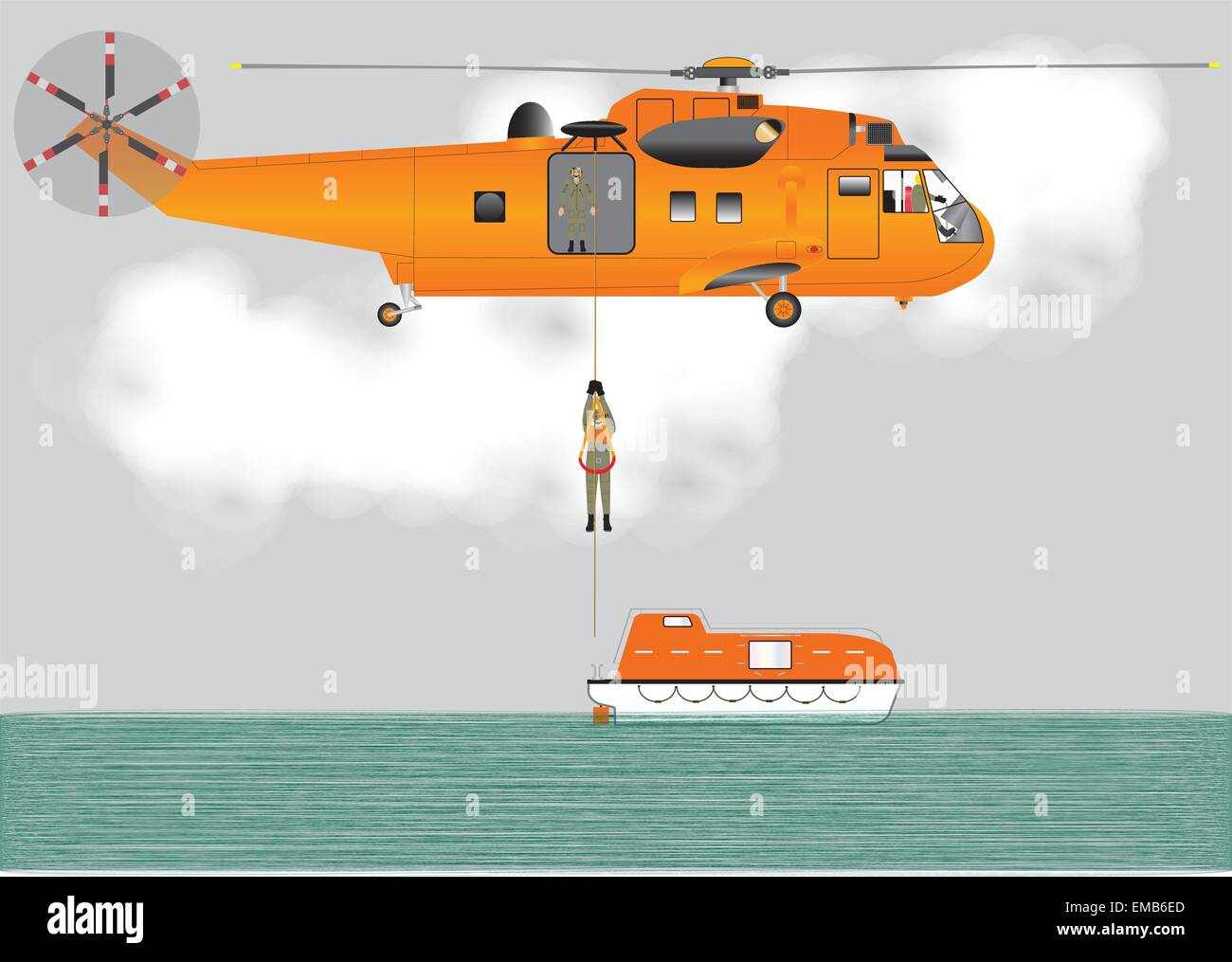 A vector illustration of An Orange Search and Rescue Helicopter hovering whilst lowering a Crewman onto a lifeboat - Stock Vector