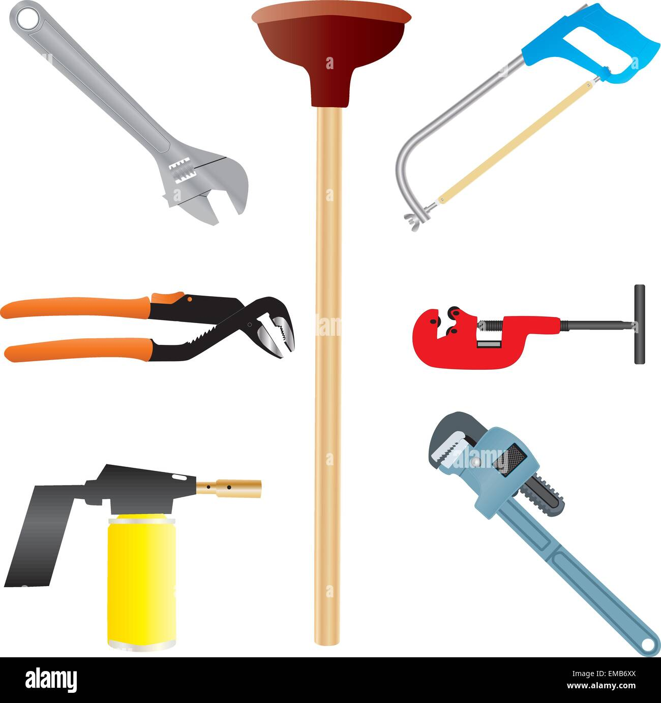 Plumbers Tools, Adjustable Spanner, Wrench, Pipe Wrench