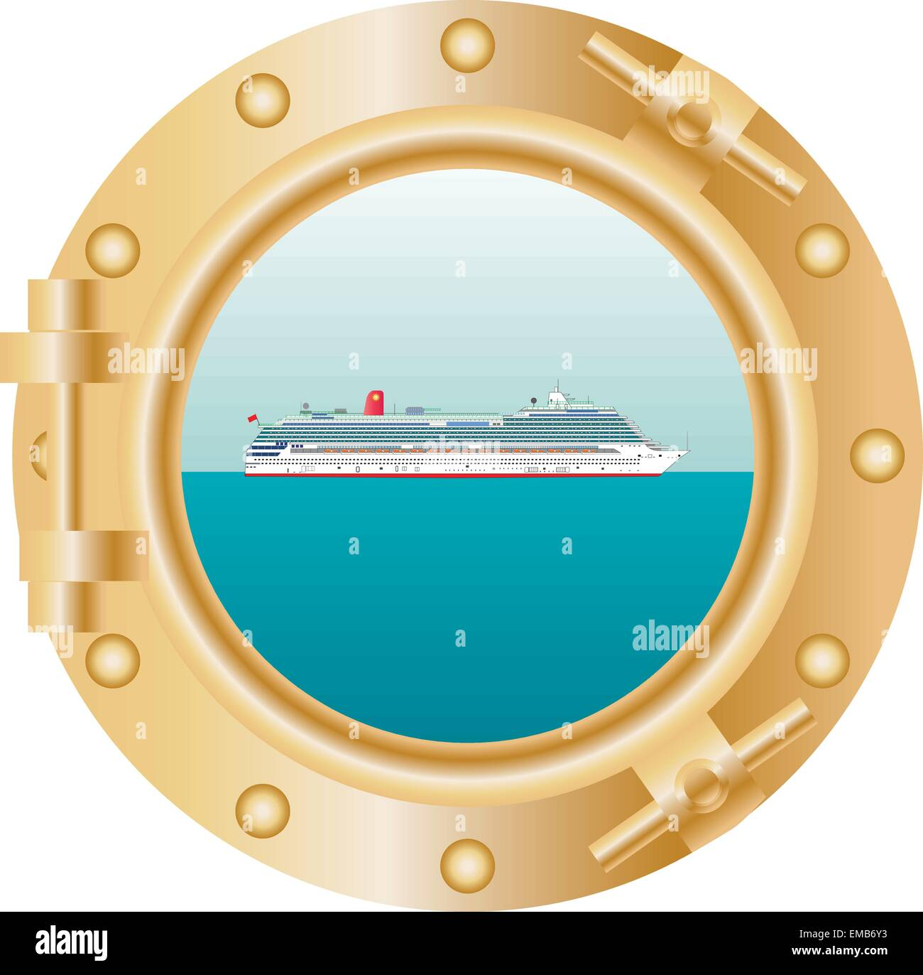 A vector illustration of the View through a ships' porthole showing a Cruise Liner sailing past on a Tropical - Stock Vector