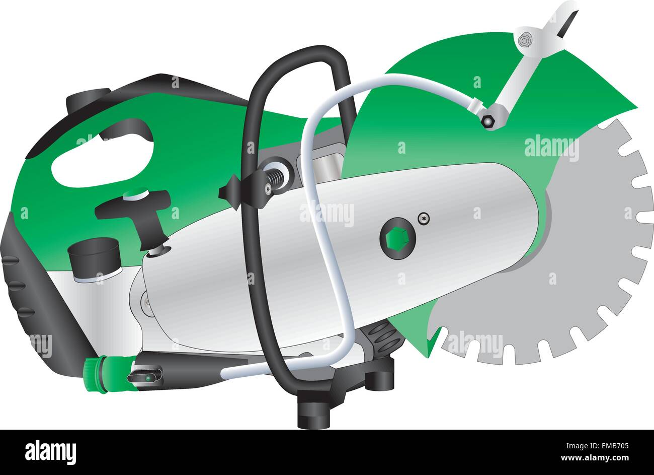 A Green Petrol Engined Stone Saw isolated on White - Stock Vector