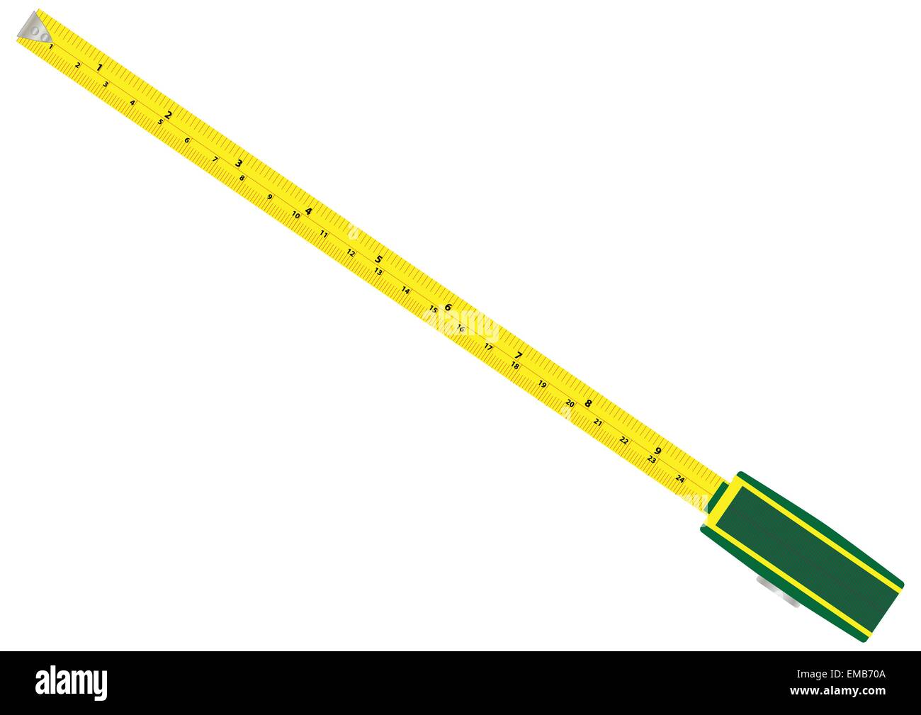 A Tapemeasure with metric and imperial graduations isolated on white - Stock Vector