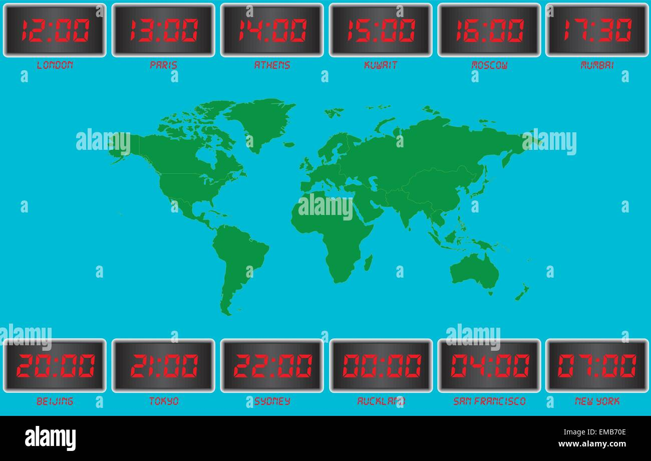 A vecor image of a world time map with clocks london paris athens a vecor image of a world time map with clocks london paris athens kuwait moscow mumbai beijing tokyo sydney auckland san fransisco publicscrutiny Image collections