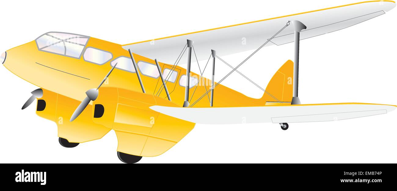 A Yellow Vintage Twin Engined Biplane Airliner isolated on white - Stock Vector