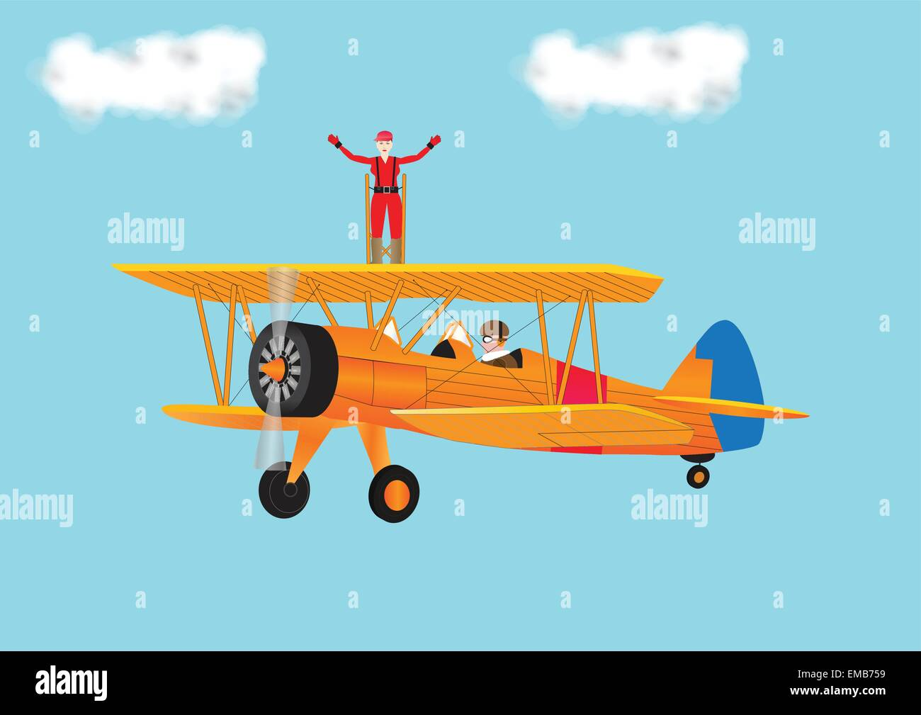 An illustration of a Woman in a Red Jumpsuit with her arms outstretched Wing Walking on a orange vintage Biplane - Stock Vector