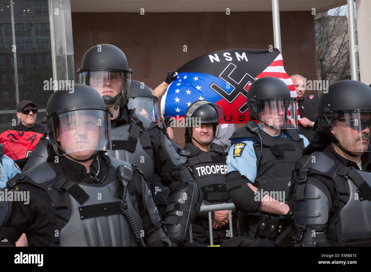 Toledo, Ohio USA - 18 April 2015 - Protected by hundreds of police, the neo-Nazi National Socialist Movement held - Stock Image