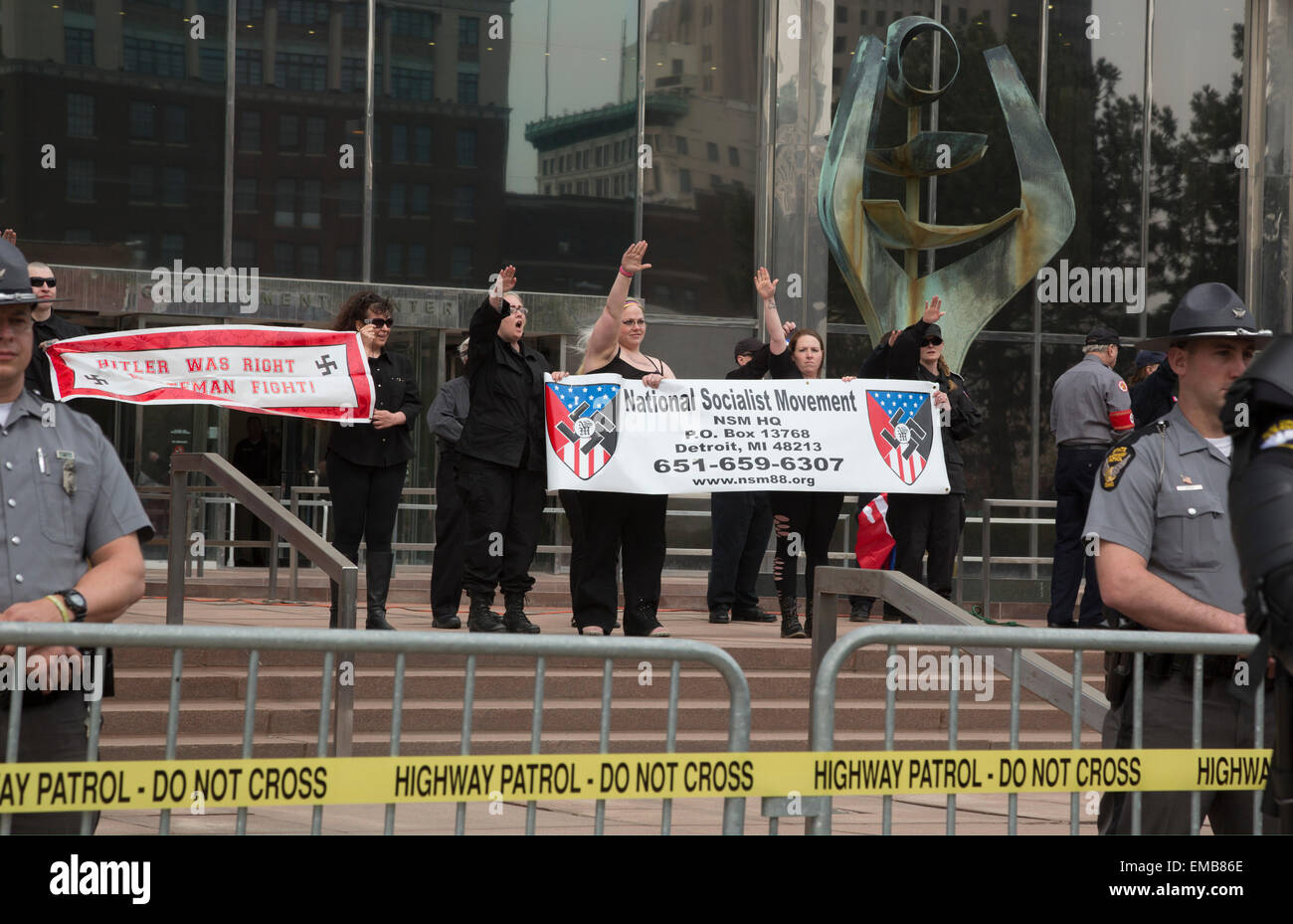 Toledo, Ohio USA - 18 April 2015 - Protected by hundreds of police, the neo-Nazi National Socialist Movement held Stock Photo