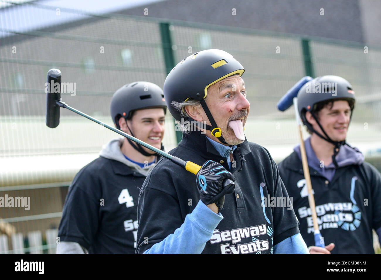Rugby, Warwickshire, UK. 19th April, 2015. A player for the Segway Events team with a novelty tounge attachment. - Stock Image