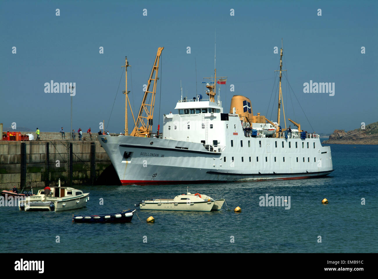 The RMV Scillonian lll passenger ship in Huw Town harbour, St.Marys, Scilly Isles - Stock Image