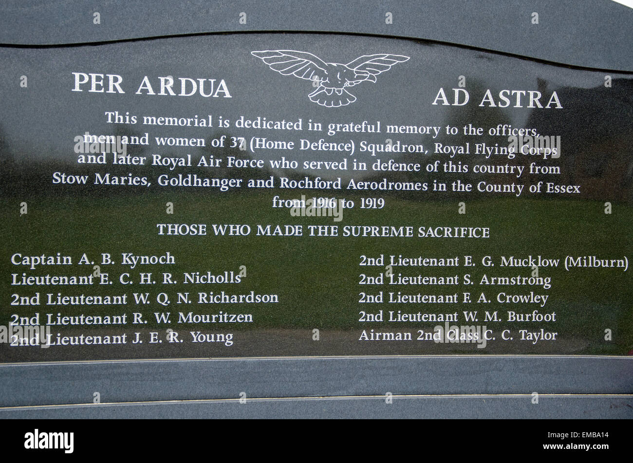 Stow Maries Aerodrome, in memory of the airmen of 37 (Home Defence) Squadron who died whilst serving the squadron - Stock Image