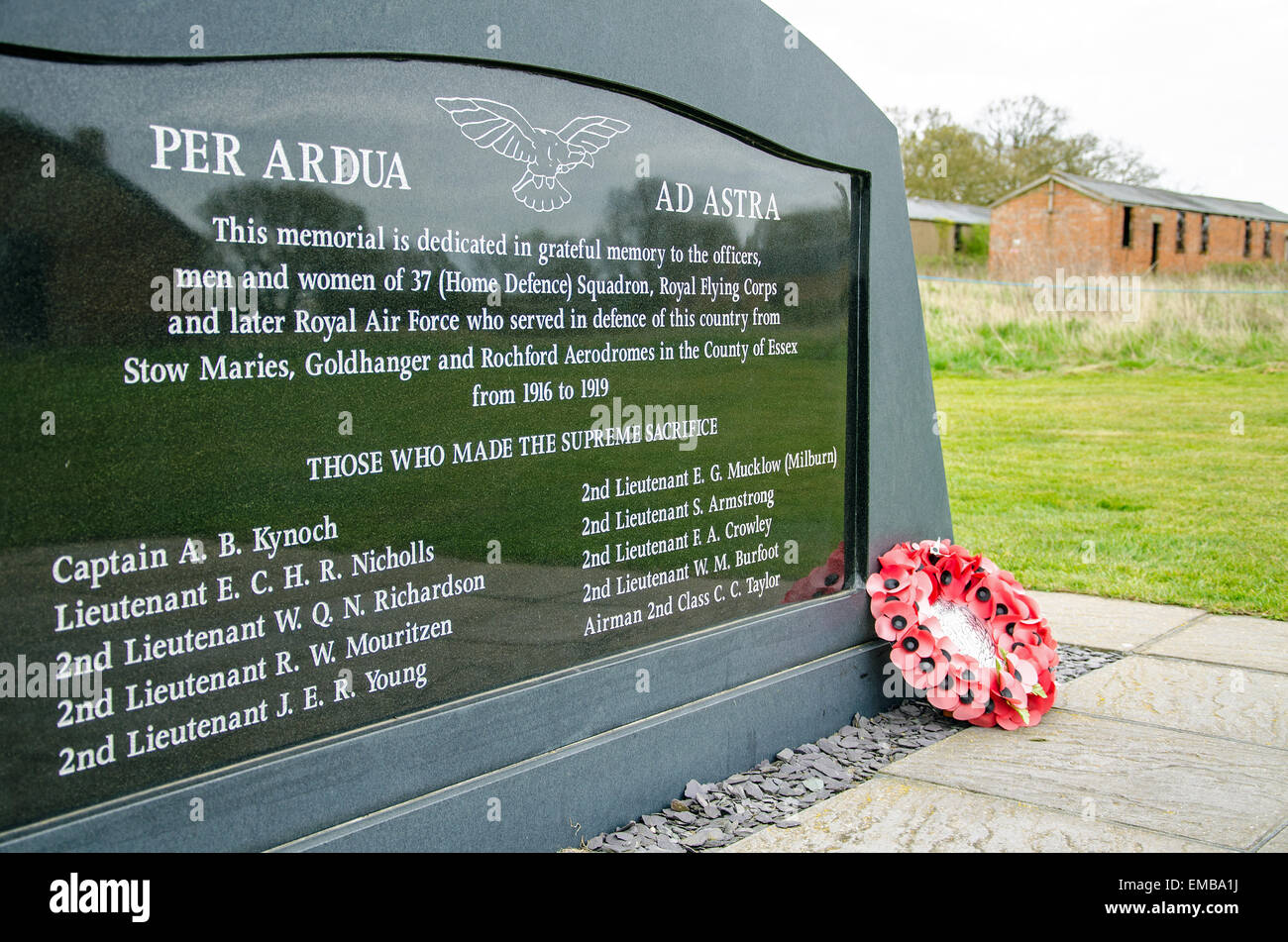 Service of remembrance at Stow Maries Aerodrome, in memory of the airmen of 37 (Home Defence) Squadron who died - Stock Image