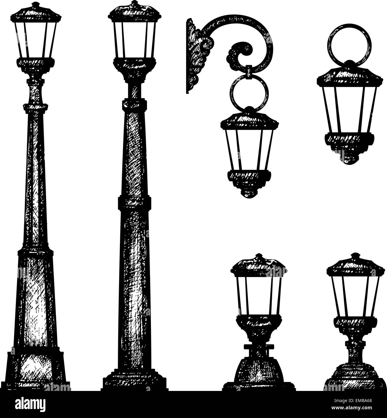 Sketch of street light, vector drawing Stock Vector